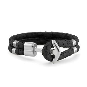 Hooked Armband Black Braided Leather Zilver
