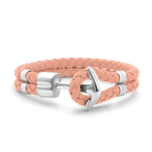 Hooked Armband Blooming Dahlia Braided Leather Zilver