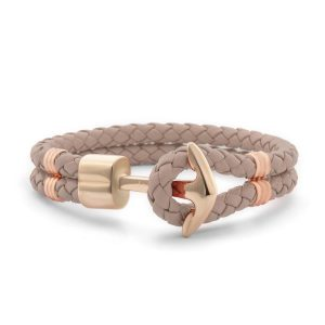 Hooked Armband Butterum Braided Leather Roségoud