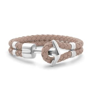 Hooked Armband Butterum Braided Leather Zilver