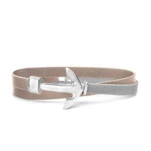 Hooked Armband Butterum Leather Mesh Combo Zilver