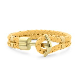 Hooked Armband Funky Yellow Braided Leather Goud