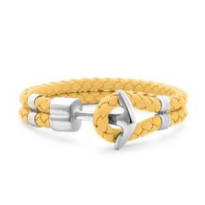 Hooked Armband Funky Yellow Braided Leather Zilver