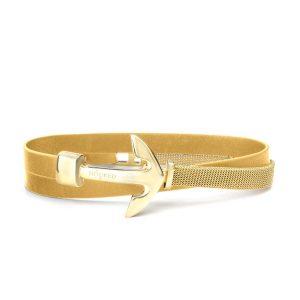 Hooked Armband Funky Yellow Leather Mesh Combo Goud