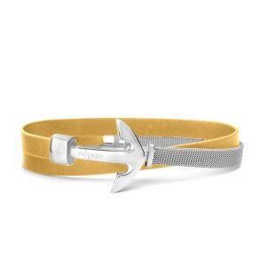 Hooked Armband Funky Yellow Leather Mesh Combo Zilver