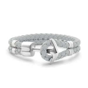 Hooked Armband Light Grey Braided Leather Zilver