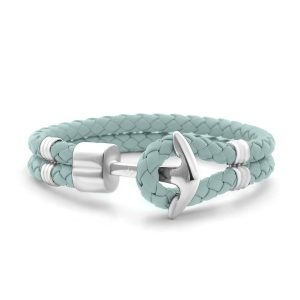 Hooked Armband Mint Braided Leather Zilver