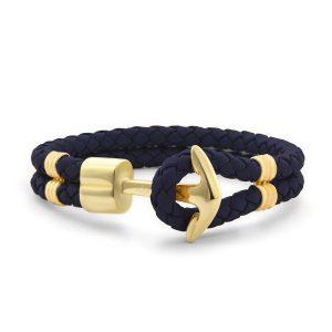 Hooked Armband Navy Blue Braided Leather Goud