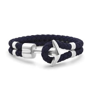 Hooked Armband Navy Blue Braided Leather Zilver