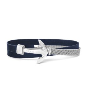 Hooked Armband Navy Blue Leather Mesh Combo Zilver