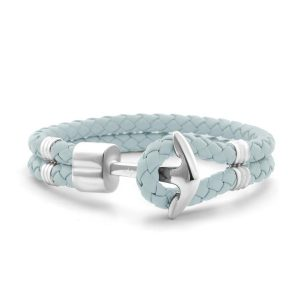 Hooked Armband Silver Anchor Braided Leather Blauw
