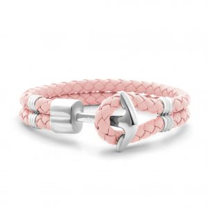 Hooked Armband Silver Anchor Braided Leather Roze
