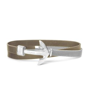 Hooked Armband Silver Anchor leather mesh combo