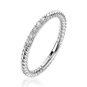 ZinZi zilveren ring gedraaid 2mm witte zirconia's ZIR2128